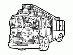 Cartoon Fire Truck Coloring Page For Kids Transportation Pages Printables Free