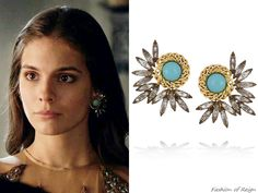 """fashion-of-reign: In episodes (""""No Exit"""") and (""""Abandoned"""") Lady Kenna wears these sold out Elizabeth Cole Mohawk Gold-Plated Swarovski Crystal Earrings. In the eighteenth episode she wears them with a Candela dress and Jennifer Behr headpiece. Kenna Reign, Lady Kenna, Reign Tv Show, Reign Fashion, Tv Show Outfits, Unusual Jewelry, Royal Jewels, Swarovski Crystal Earrings, Jewelry Photography"""