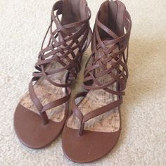 Brown gladiator sandals wedges Small wedge. Gently used. Cute for the summer. Shoes Sandals