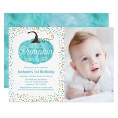 Watercolor Pumpkin Confetti Boy 1st Birthday Photo Card - giftidea gift present idea one first bday birthday 1stbirthday party 1st
