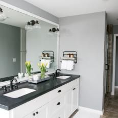 Black and White Bathroom Double Vanity