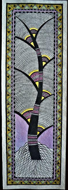 handmade madhubani painting tree of life Madhubani Paintings Peacock, Kalamkari Painting, Madhubani Art, Indian Art Paintings, Indian Artwork, Mandala Art Lesson, Mandala Drawing, Mandala Tattoo, Worli Painting