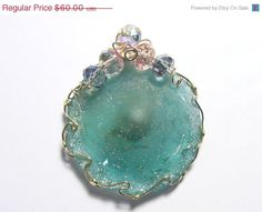20% OFF SALE Ancient Roman Glass Wire Wrapped Pendant in 14kgf wire, accented with faceted glass beads