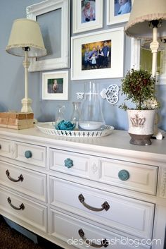 love this photo collection- including the open frame & mirror White Furniture, Bedroom Furniture, Blue Master Bedroom, Master Bedrooms, Home Living Room, Living Room Decor, Traditional Dressers, Love Your Home, Inspiration Wall