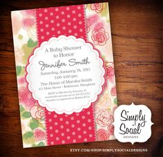 Baby Shower Invitation Baby Girl Pink Floral.