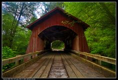North Yachats River Covered Bridge. East of Yachats, Oregon, USA. What I wouldn't give to do a photo shoot there!!