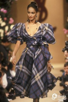 Image from object titled 'Yves Saint Laurent, Spring-Summer Couture' Haute Couture Style, Love Couture, Couture Mode, Couture Fashion, Tartan Fashion, 80s Fashion, Runway Fashion, High Fashion, Vintage Fashion