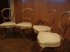Antique Set of 4 Dining Chairs, Balloon Back