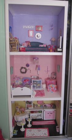 american girl doll house in the closet. Our American Dolls: american girl doll house in the closet. Our American Dolls: American Girl Doll Room, American Girl House, American Girl Crafts, American Dolls, Girls Furniture, Doll Furniture, Furniture Ideas, Ag Doll House, Doll Houses