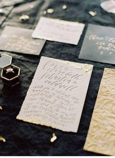 The Lane. Wedding Stationary. Calligraphy Gold leaf