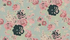 Bouquet (BOUNW073) - Anna French Wallpapers - A stunning glorious profusion of flowers in soft muted pinks and greens as if hand painted on a silver foil backing. Silver is shown as black in image - please order sample for true colour match. Paste the wall.