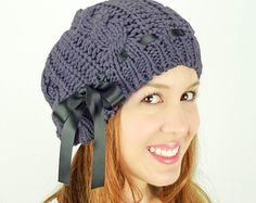 d0ed7a00495 Cozy and Stylish Cable Knit Beanie hat adorned with a knitted flower rose  for extra cuteness