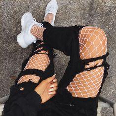 Wear For Love Inspired FISHNET TREND; Streetstyle, White Fishnet, Black Ripped Jeans, White Sneakers