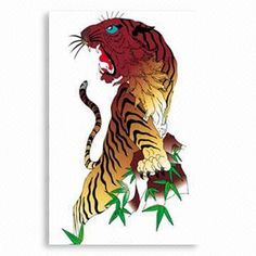 Water-resistant Temporary Tiger Tattoo Sticker, Customized Designs are Available, Easy to Apply
