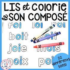 Colorie et lis - les sons composés (FRENCH Sounds Colour & Read) Kindergarten Lessons, Kindergarten Reading, Reading Lessons, Guided Reading, Phonics Words, French Immersion, Teaching French, Letter Sounds, Teaching Tips