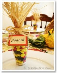 This sweet place card surprise will be a favorite amongst your guest.  Shop the dollar stores for small clear vases and fill with seasonal M&M's.  Add a name card and a bit of raffia for a finishing touch.