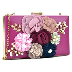 Women's Amphora handbag MMK Collection Evening Clutches handbag Satin... ($25) ❤ liked on Polyvore featuring bags, handbags, clutches, pink, floral handbags, floral purse, handbags clutches, man bag and evening purses