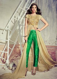 Adorable Resham Work Faux Chiffon Pant Style Suit