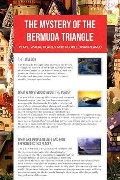 The Mystery of the Bermuda Triangle - Place where planes and people disappeared by Nur Sabrina Bte Mohd Tulos Mysterious Places On Earth, Mysterious Events, Unexplained Mysteries, Unexplained Disappearances, Bermuda Triangle Facts, Weird Facts, Fun Facts, Sunken City, Black History Quotes