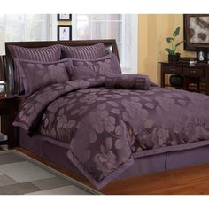@Overstock - With intricate details and specialized styling, this textured solid colored comforter adds elegance to any bedroom. The woven fabric displays a bold floral pattern in a deep plum shade.http://www.overstock.com/Bedding-Bath/Samantha-8-piece-Comforter-Set/7424142/product.html?CID=214117 $69.99