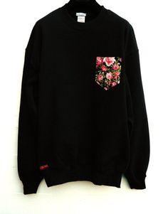 Men's Pink Cerisse Floral Pattern Black Sweat by HeartLabelTees