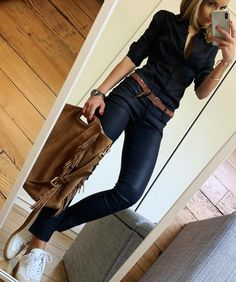 B L A C K ​​# outfit # ootd # blackoutfit # dailypost # dailyinspiration # instalook # f . Casual Work Outfits, Business Casual Outfits, Mode Outfits, Chic Outfits, Casual Wear, Fall Outfits, Fashion Outfits, Womens Fashion, Jeans Fashion