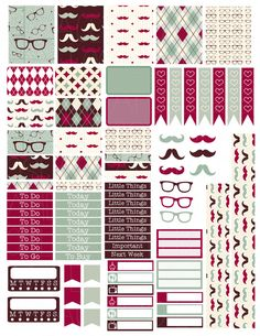 Printable Planner Stickers Argyle Mustache Glasses Glam