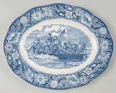 Items similar to Vintage Oval Serving Platter in the Liberty Blue pattern by Staffordshire on Etsy Blue And White China, Blue China, Blue Dishes, White Dishes, Blue Dinner Plates, White Plates, Liberty Blue, China Patterns, Or Antique