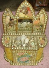1800's Victorian Sailors Valentine Shell Art Litho Picture Dresser Box w Mirrors