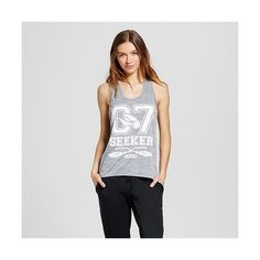 Warner Bros. Women's Graphic Tank Top ($17) ❤ liked on Polyvore featuring activewear, activewear tops, grey, graphic print shirts, gray shirt, logo sportswear, polyester shirt and graphic shirts