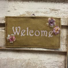 Welcome Burlap Wall-Hanging by HippyandPreppy on Etsy