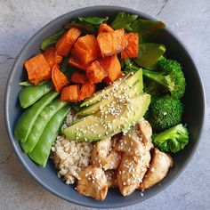 "Healthy Mummy Cassandra made the Protein Packed Chicken and Avocado Macro Bowl! 🥑😋 Cassandra: ""When your lunch is a solid 10 outta Check out this tasty recipe here: Clean Eating Dinner, Clean Eating Snacks, Healthy Eating, Healthy Mummy Recipes, Healthy Snacks, Macros, Macro Meal Plan, Clean Eating For Beginners, Macro Meals"