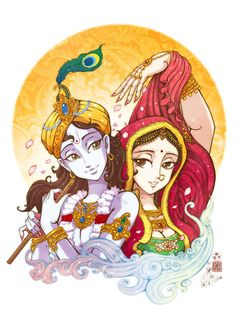 Lord Krishna and Radha by In-Sine (print image)