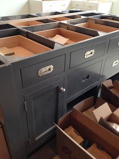 Gorgeous campaign style drawer pulls. Love how they stay folded inside and wouldnt grab you as you walk by.