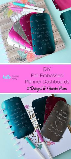 Making DIY Planner accessories is so much fun! Learn how to make foil embossed DIY planner dashboards using your Cricut Explore or Cricut Maker and a scoring stylus! This project includes 11 different design options for your tabs. So easy to make. This pr Planner Tabs, Washi Tape Planner, Planner Dividers, Planner Dashboard, Washi Tape Diy, Printable Planner, Planner Stickers, Life Planner, Printables