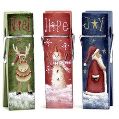 The Decorative Painting Store: Christmas Mini Clothespin Memo Clips DOWNLOAD, Clothespin Memo Clips