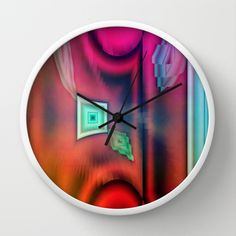 multicolored abstract no. 8 Wall Clock by Christine baessler - $30.00