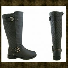 """⚡Final Price⚡ Quilted Riding Boots New in box* A combination of Lux Fashion and Moto bring these Riding boots to a whole new level of being a fashionista. These boots feature quilted details running throughout the back of the boot along with multi buckles and Stud accents.    Sizing: True to size. Black - Round toe - Side zip closure - Adjustable buckle straps - Quilted back - Stud detail on heel - Chunky heel - Approx. 13"""" shaft height, 15"""" opening circumference - Approx. 0.9"""" heel Olivia…"""