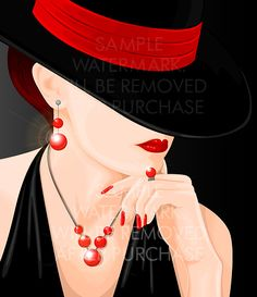 Vector illustration portraying a woman in black dress and a hat covering a part…