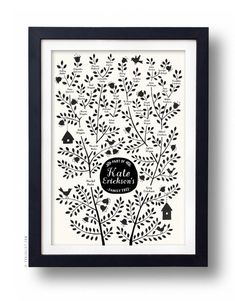 BIRDS Family Tree 5 generations CUSTOMIZABLE Pink by evajuliet