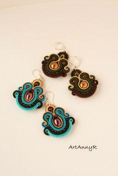 Kolczyki sutasz Macrame Earrings, Soutache Earrings, Crochet Earrings, Soutache Pendant, Earring Trends, Earring Tutorial, Small Earrings, Beaded Embroidery, Statement Jewelry