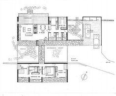 Floor plan for Hutter House, Turramurra, 1952.