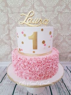 First birthday cake with pink and gold theme ..