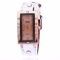 CCQ Retro Design Genuine Leather Casual Quartz Watches With Diamond Luxury Brand Women's Bracelet Watches Relojes Mujer #Affiliate