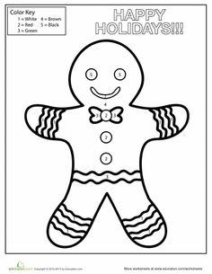Worksheets: Gingerbread Man Color by Number