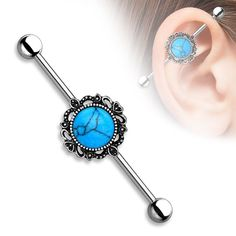 Turquoise Industrial Barbell with Filigree Around 14ga Surgical Steel Body Jewelry