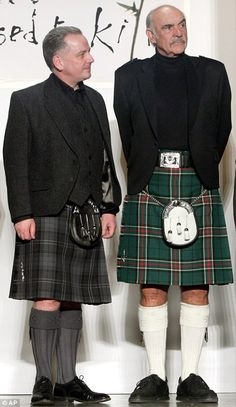 "Scotland's First Minister Jack McConnell and Sean Connery at the""Dressed to Kilt"" fashion show, in New York 2006 (I am a McConnell~Wigtown; MacLean, my maternal grandfather) Scottish Man, Scottish Kilts, Scottish Actors, Scottish Fashion, Scotland Men, Outlander, James Bond, Tartan Kilt, Men In Kilts"