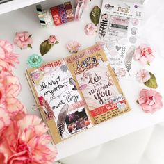 Traveler's Notebook by Andressa using Rose Quartz papers and embellies #notebooks #planner #plannernotebook
