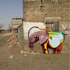 Street art in Dakar, Senegal, by artist Falko one. Photo by Falko one. Street Art Love, Amazing Street Art, Best Street Art, Awesome Art, Graffiti Murals, Street Art Graffiti, Mural Art, Banksy, Contemporary African Art