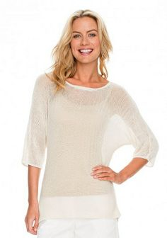 LOVE!!!! Sheer has been a hot trend since last summer, but mixing this trend with knit sweaters creates a full coverage look without feeling weighed down in a heavy sweater. Pair it with a tank of the same color as the sweater for a seamless look. This is perfect for dinner al fresco paired with white jeans or a long flowing skirt. (J. McLaughlin Darley Sweater, $165)